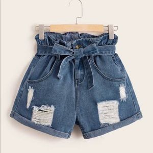 Ripped Paperbag Waist Belted Denim Shorts